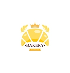 Croissant bakery emblem or logo with text vector