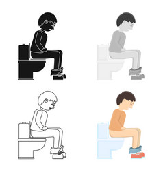diarrhea icon cartoon single sick icon from the vector image