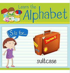 Flashcard letter s is for suitcase vector
