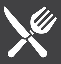 Fork and knife solid icon dinner and restaurant vector