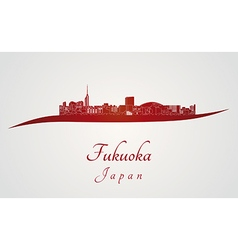 Fukuoka skyline in red vector image vector image
