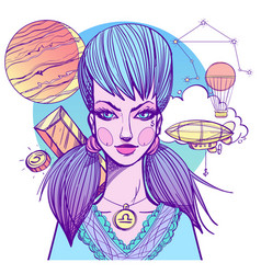 girl symbolizes the zodiac sign libra pastel goth vector image vector image