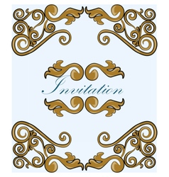 Gold damask ornament invitation vector image