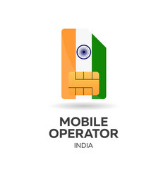 India mobile operator sim card with flag vector