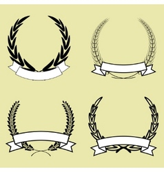 laurel wreath with ribbon vector image