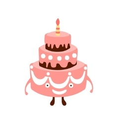 Layered big cake with one candle children birthday vector