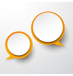 Paper white-orange round speech bubbles vector image vector image