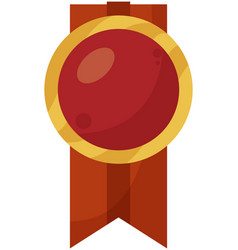 Red medal in flat vector