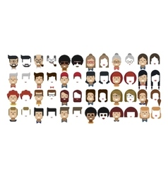 set avatars female and male faces vector image vector image