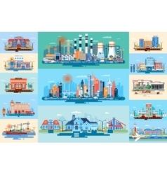 Set city elements vector