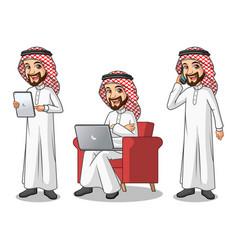 set of businessman saudi arab man with gadgets vector image vector image