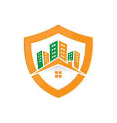 Shield buildings real estate logo image vector