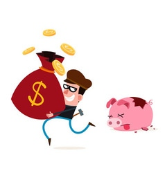 Stealing money from piggy banks vector