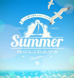 Summer holidays emblem with yacht vector image vector image