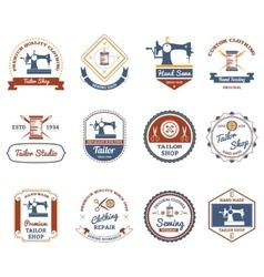 Tailor shop original labels icons set vector