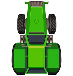 Top view of green tractor vector