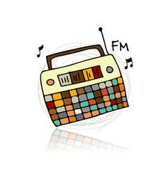 Vintage radio sketch for your design vector