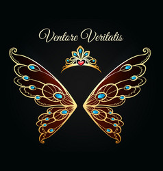Wings and tiara gold logo vector
