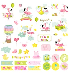 Baby girl flamingo scrapbook set vector