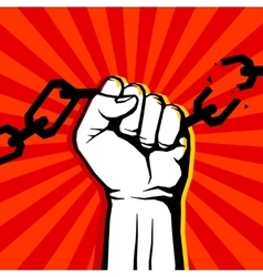 Breaking chain protest rebel poster vector