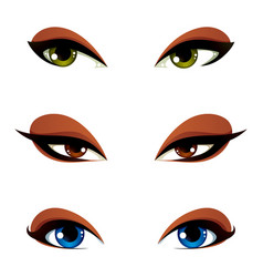 Female eyes in different emotion with blue brown vector