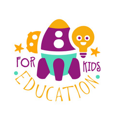 Education for kids logo symbol colorful hand vector