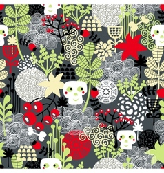 Seamless pattern with nature and skulls vector