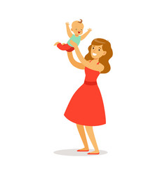 Beautiful young mother in red dress with her vector