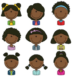 African american girls avatar vector