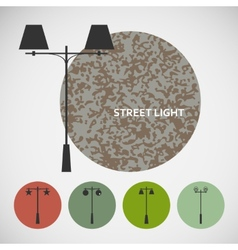 Set vintage street lights on colored backgrounds vector image