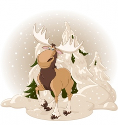 Moose against a snowy forest vector