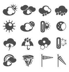 Weather forecast symbols icons set black vector