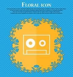 Cassette sign icon audiocassette symbol floral vector