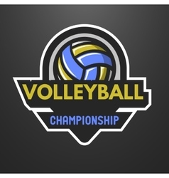 Volleyball sports logo label emblem vector