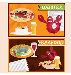 Lobster and seafood restaurant cartoon vector