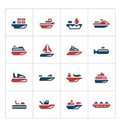 Set color icons of water transport vector