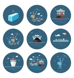 Set of Cargo Icons Freight Transportation vector image