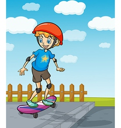A boy playing skatboard vector image vector image