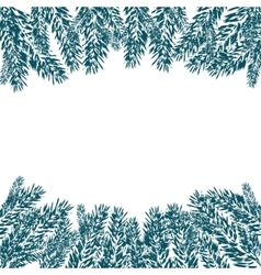 Blue realistic fir branches in the snow in cold vector
