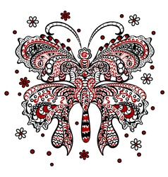 Butterfly red black white vector image vector image