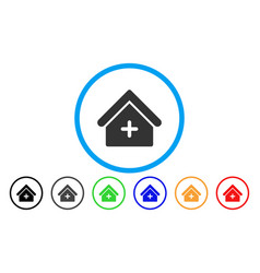 Clinic building rounded icon vector