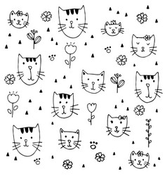 cute little kittens hand drawn pattern background vector image
