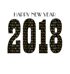 gold black new years eve 2018 typography pattern vector image vector image