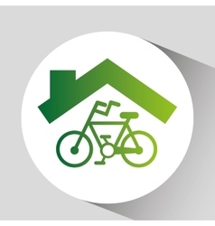 Green ecology bike symbol design vector