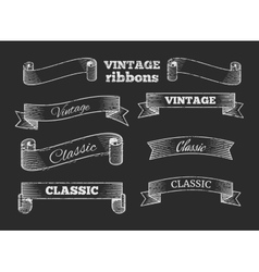 Hand drawn retro ribbon banners on vector image