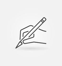 hand with pencil icon in thin line style vector image vector image