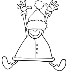 Happy santa cartoon coloring page vector