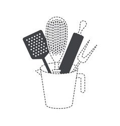 jar with kitchen utensils and roller pin black vector image vector image