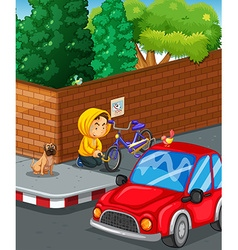 Man stealing bike at the road corner vector