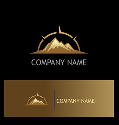 Mountain volcano star adventure gold logo vector